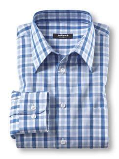 Extraglatt-Hemd Walbusch-Kragen Azur/Bleu Detail 1