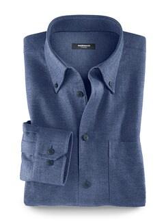 Softflanell-Hemd Walbusch-Kragen Blau Detail 1