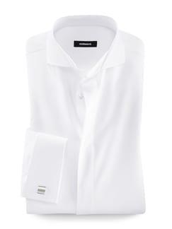 Vollzwirn-Hemd Umschlagmanschette Satinpunkt Weiß Detail 1