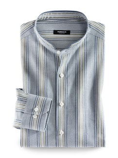 Stehkragen Havanna-Shirt Blau/Khaki Detail 1