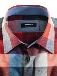 Extraglatt-Leichtflanell-Hemd Blau/Grau/Orange Detail 3