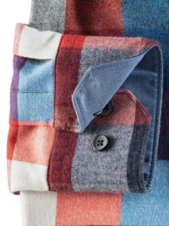 Extraglatt-Leichtflanell-Hemd Blau/Grau/Orange Detail 4