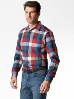 Extraglatt-Leichtflanell-Hemd Blau/Grau/Orange Detail 2