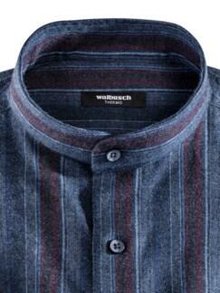 Thermoflanell-Hemd Stehkragen Streif.Blau/Rot Detail 3