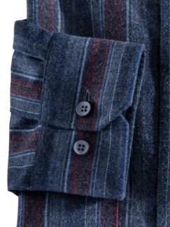 Thermoflanell-Hemd Stehkragen Streif.Blau/Rot Detail 4