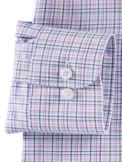 Extraglatt-Hemd Walbusch-Kragen Magenta Weiss Detail 4