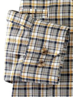 10-Taschen-Safarihemd Karo Sand/Safr. Detail 4