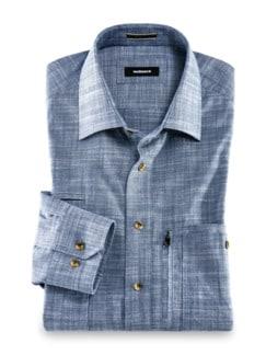 10-Taschen-Safarihemd Uni Blau Detail 1