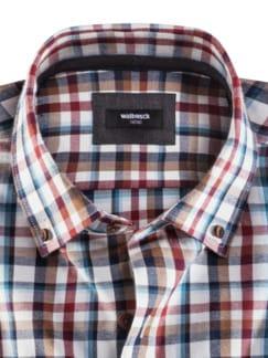 Flanell-Hemd Cashmere-Blend Ecrue/Blau Detail 3