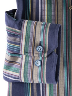 Reißverschluss-Hemd Easycare Streifen Navy Detail 4
