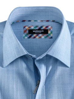 Reißverschluss-Hemd Easycare Uni Blau Detail 3