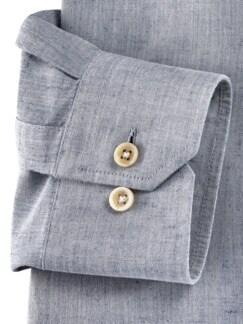 Wüsten-Hemd Uni Jeansblau Detail 4