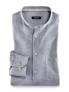 Wüsten-Hemd Uni Jeansblau Detail 1