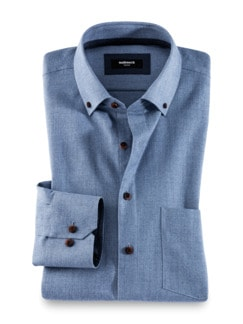 Flanell-Hemd Cashmere-Blend Mittelblau Detail 1