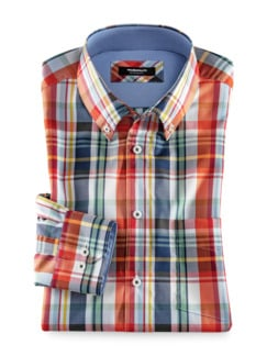 Extraglatt-Hemd Button Down Karo Weiss Oran Detail 1