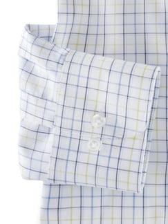 Extraglatt-Hemd Kent-Kragen Karo Weiß/Gelb Detail 4