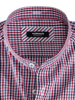 Extraglatt-Hemd Wechselkragen Vichykaro Blau Detail 3