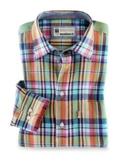 Irisches Leinenhemd Madraskaro Detail 1