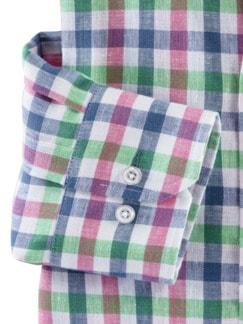 Irisches Leinenhemd Vichykaro Detail 4