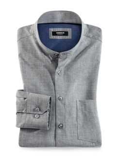 Extraglatt Stehkragen-Hemd Melange Grau Detail 1
