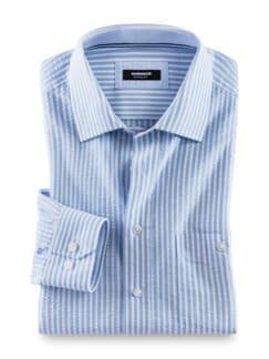 Seersucker-Hemd Hitzefrei Streifen Blau Detail 1