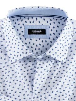 Seersucker-Hemd Hitzefrei Print Weiß/Blau Detail 3