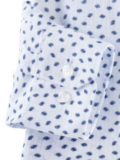 Seersucker-Hemd Hitzefrei Print Weiß/Blau Detail 4