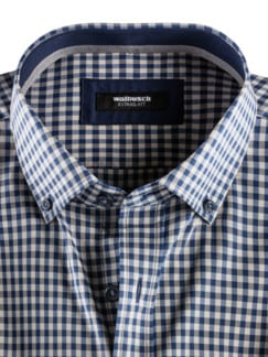 Extraglatt-Hemd Memory-Vichy Beige/Blau Detail 3