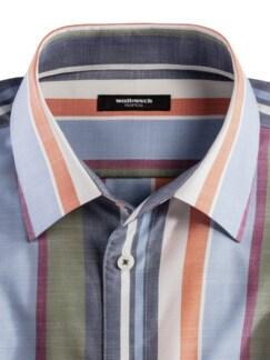 Extraglatt-Hemd Tropical Streifen Blau Detail 3