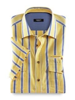Extraglatt-Hemd Tropical Streifen Gelb Detail 1