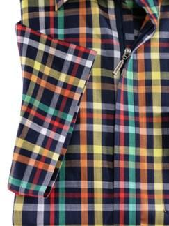Reißverschluss-Hemd Easycare Karo Dunkelblau Detail 4