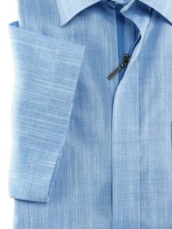 Reißverschluss-Hemd Easycare Uni Blau Detail 4