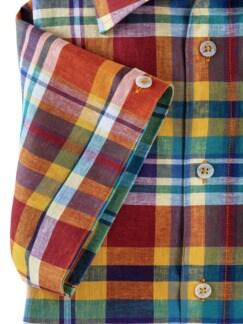 Leinenmix-Hemd Madraskaro Gelb Detail 4
