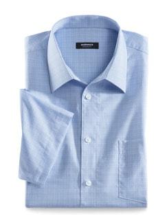 Extraglatt-Hemd Walbusch-Kragen Glencheck Hellblau Detail 1