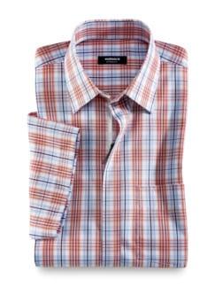 Extraglatt-Hemd Reißverschluss Weiß/Terra/Blau Detail 1