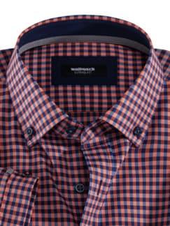 Extraglatt-Hemd Memory-Vichy Orange/Blau Detail 3