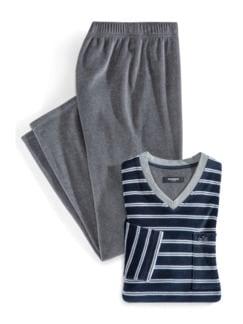 Nicki Schlafanzug Softfeel Grau Melange Detail 1