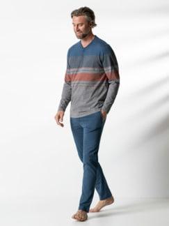 Serafino-Schlafanzug Everyday Rauchblau/Orang Detail 2