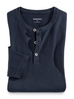 Henley-Shirt Marine Detail 1