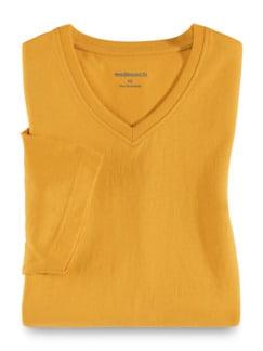 T-Shirt V-Ausschnitt Safran Detail 1