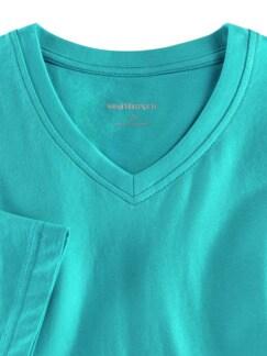T-Shirt V-Ausschnitt Aqua Detail 3