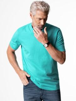 T-Shirt V-Ausschnitt Aqua Detail 2