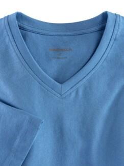 T-Shirt V-Ausschnitt Mittelblau Detail 3
