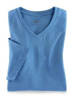 T-Shirt V-Ausschnitt Mittelblau Detail 1