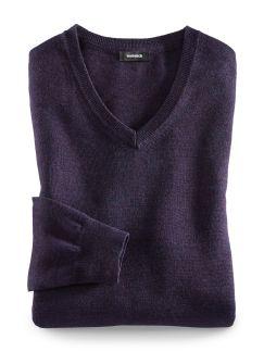 Merino-Mix V-Pullover Aubergine Detail 1