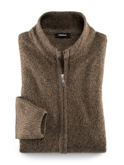 Mouline-Strickjacke Safran/Grau Detail 1