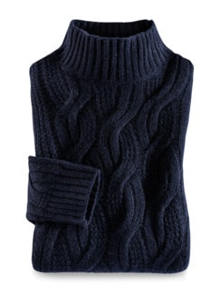 Zopfstrick-Pullover Baby Alpaka Marine Detail 1