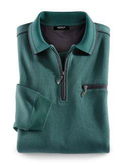 Extraglatt-Polo-Pullover Lagune Detail 1