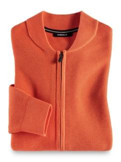 Zip-Strickjacke Soft Cotton Orange Detail 1