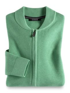 Zip-Strickjacke Soft Cotton Pistazie Detail 1
